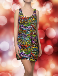 Graffiti Style Racerback Dress Moisture Wicking Strong Elastic Fabric Vibrant Best Quality Pigment Inks Sizes XS - 2XL Music $21.99 https://www.etsy.com/shop/LAFabriKDesigns?ref=ss profile