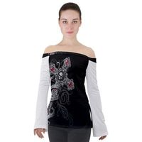off shoulder cross with skull tshirt $35.00