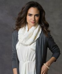 As fluffy as a cloud, changing textures and a cluster stitch pattern keep this elegant cowl interesting, yet easy, to make. You'll want one in every color for your own wardrobe or for gifts for your friends and family.