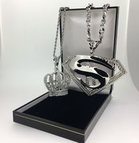 2 Piece XXL SM Pendant and crown hip hop bling iced out £27.95