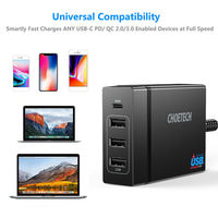 CHOETECH 72W Multi Port USB Quick Charger Power Adapter for Smartphone Tablet Laptop