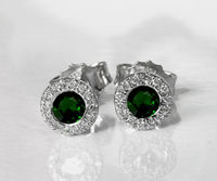 Emerald Studs Halo Earrings surrounded with Diamonds Birthday Gift Minimalist Earrings Sunflowers Earrings 14K or 18K White gold $994.75