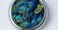 Peacock Feathers vintage illustration PILL case box pillbox holder birds nature pretty abstract DIY $8.00
