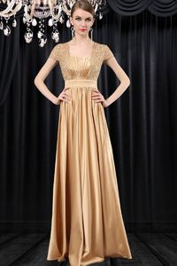 Formal Sequare Neck Cap Sleeve Long Gold Satin Lace Mother Of The Bride Evening Dress