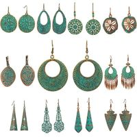 Bohemian earrings statement jewelry Exaggerated antique green metal water drop earrings for women Boho flowers tassel earring $4.53