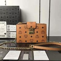MCM Patricia Visetos Leather Chain Crossbody Bag In Brown