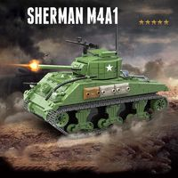 M4A1 Sherman US Tank 726 Pieces 4 Soldiers + Weapons $56.90