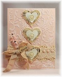handmade Valentine card ... shabby chic ... collage ... felt, sheet music, buttons, crochet lace, pearls, ribbon ... lovely embossing ... gorgeous ...