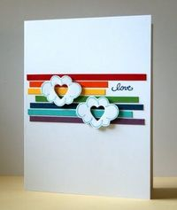 "cut strips of paper in rainbow colors & place on card base; stamped DeNami clouds & cut out; die cut hearts in the middle of each & adhere them over color strips; ""love"" sentiment, from DeNami."