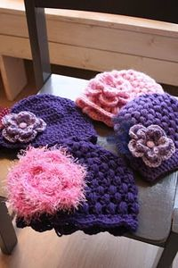 crochet hats - these look like they'd make great chemo caps!