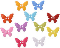 Pack of 50 Assorted Colours Plastic Butterfly Buttons. Children Clothing Accessories £7.99