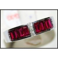 18K White Gold For Men Ruby Red and Diamond Ring [RQ0013]