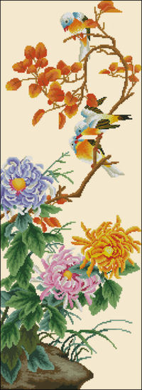 "Chrysanthemum and birds �€"" free cross-stitch pattern"