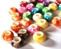 Pack of 50 Assorted Speckled European Beads. 9mm x 15mm with 6mm Hole. Random Colours Round Acrylic Spacers. For Jewellery Making & Crafts £5.39