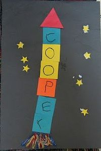 Kindergarten name art. Kids cut out different colored squares. Kids write one letter on each square. Paste vertically on black paper. Paste a triangle on top and yellow star stickers or cut outs around rocket. Remember - let them cut their own paper if po...