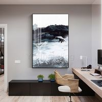 Framed painting sea wave Abstract Acrylic Paintings on Canvas original art extra Large wall pictures black white $116.47