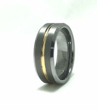 Black tungsten center channel yellow gold inlays wedding band 7 millimeters wide $89.00