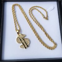 PVD Iced Out Hip Hop Bling Diamond Studded Dollar Sign 3D Mini Pendant Necklace 30 inches Rope Chain included £3.75