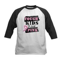 Tough Kids Wear Pink Breast Cancer Awareness shirts, apparel and funny gifts featuring distressed text and a pink ribbon from HopeDreamsDesigns.Com