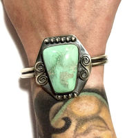 Sterling Silver Cuff Bracelet with Lucin Variscite Green Gemstone Vintage Style Silver Patina $99.95