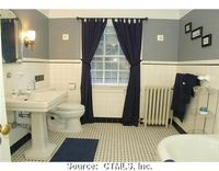 Navy, grey, and white bathroom, Manchester, Connecticut