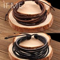 2017 Vintage Retro Punk Handmade Fashion Jewelry multilayer Leather Braided Rope Wristband men bracelets & bangles for Male $17.49