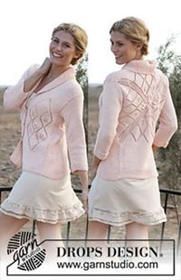 "Ravelry: 137-6 ""Miss Sophie"" - Jacket with square on the back, lace pattern and ¾ sleeves, in ""Muskat"" pattern by DROPS design FREE PATTERN"