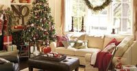 Get your holiday family room decorating on! I just bought new furniture in a lovely off-white. I can't wait to be able to change out my throw pillows and decorations to create a look like this! Makes you just want to curl up with a hot beverage and a ...