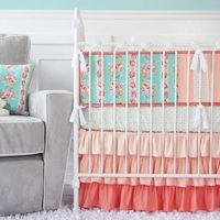 Lovely Coral Lace Baby Bedding - 3 pc bedding set on Etsy, $172.00