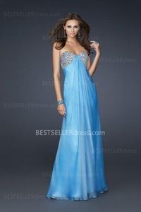 2013 Discount Prom Dresses Empire Cheap Sky Blue Long Strapless Junior Sale