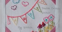 Free embroidery banner and flowers pattern ( jpg + pdf )