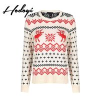 School Style Vogue Sweet Scoop Neck Jersey Snow Flower Animals Fall 9/10 Sleeves Sweater - Bonny YZOZO Boutique Store