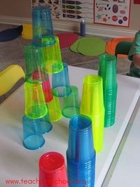 Bright and colorful cups can end up building imagination and tall towers!