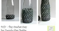"""Sara Art Studio: D.I.Y. - Tiny Crochet Cosy for Upcycle Glass Bottles and Jars �€"""" English Version"""