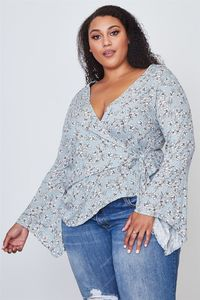 "20% discount with BESTDEAL at checkout! Ladies fashion plus size floral print deep ""v"" front tie boho top $20.00"