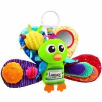 Lamaze Play and Grow Jacques - newborns don't react to many toys, but this one is great because the back of the feathers are black and white which helps eye development.