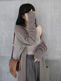 V-neck Long Cashmere Cardigan Thick Loose Sweater $75.00