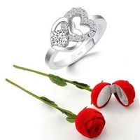 Scented Rose with stylish CZ Rhodium plated alloy Ring for Women