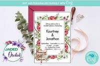 Merlot Autumn Garden Bridal Shower Invitation, Burgundy Autumn Greenery Bridal Shower Invitation - INSTANT ACCESS - Edit NOW using Corjl $8.99