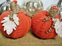Old sweaters and books repurposed into decorative pumpkins.