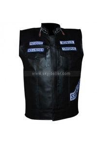 Black Biker Mens Leather Vest