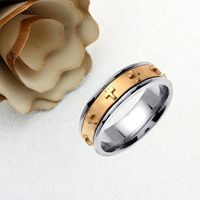 Personalized Name Ring For Men And Women 14K Gold Promise Ring Wedding Band Two Tone Gold 7mm Cross Comfort Fit - JN428 Hand Made $611.10