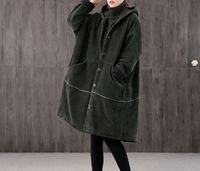 Winter long retro corduroy hooded casual coat, brown handmade large size loose coat, thick warm women's coat, 90S corduroy loose trench coat $85.00