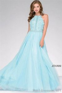 Halter Neck Aqua Beaded Lace A-Line Ball Gown Prom Dress by Jovani 47453