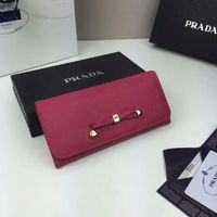 Prada 1M1132 Bow Saffiano Leather Wallet In Rose
