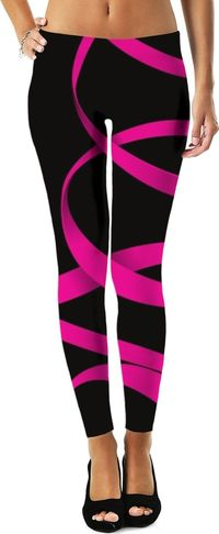 Black Hot Pink Swirls Women's Leggings/Plus Sizes Available/XS - 5XL $49.00