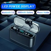 TWS Mini bluetooth LED Digital Display Earphone Waterproof Auto Pair Headset with 2000mAh Power Bank