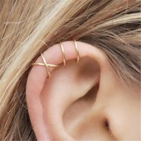 925 Sterling Silver Earrings for Women Girls Silver/Gold Color Ear Cuff Cartilage Non-Piercing Clip Earrings 2PCS/Pair $6.30