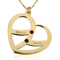 24K Gold Plated Engraved Name and Birthstone Heart Mother Necklace as low as $59.99