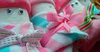 Diaper Babies {Baby Shower Gift Ideas} (body=diaper, wash cloth, and baby socks for the hat!)